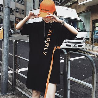 Lettering Elbow-Sleeve T-Shirt Dress from Fashion Street