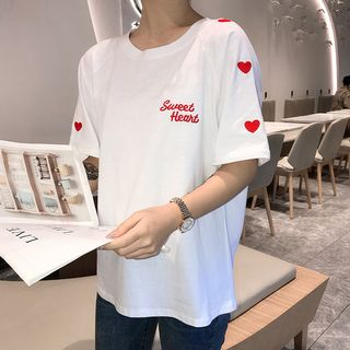 Lettering Short-Sleeve T-Shirt from Fashion Street