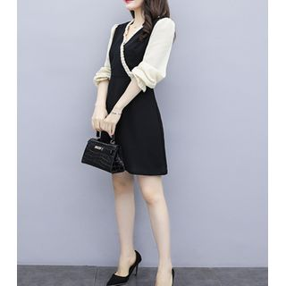 Long-Sleeve Chiffon Paneled Mini Dress from Fashion Street