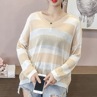 Long-Sleeve Color Block Knit Top from Fashion Street