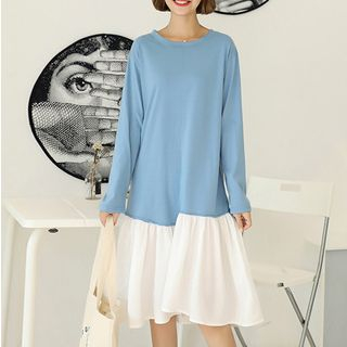 Long-Sleeve Ruffle Hem T-Shirt Dress from Fashion Street