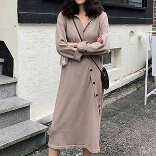 Long-Sleeves Diagonal Bottoned Shirt Dress from Fashion Street