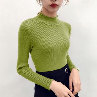 Mock-Neck Long-Sleeve Knit Top from Fashion Street