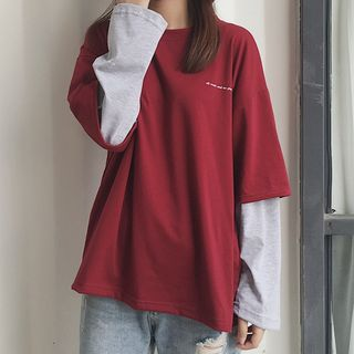 Mock Two-Piece Long-Sleeve T-Shirt from Fashion Street