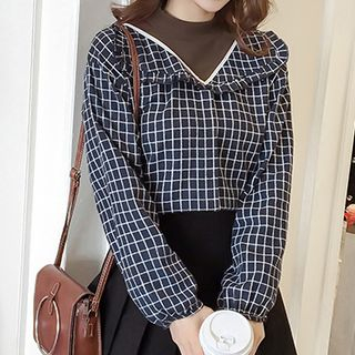Plaid Frill Trim Mock Two-Piece Blouse from Fashion Street