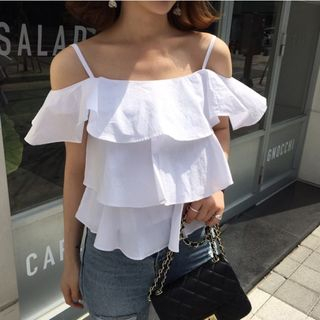 Plain Off Shoulder Short Sleeve Blouse from Fashion Street
