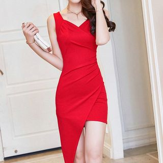 Plain Sleeveless Asymmetric Hem Dress from Fashion Street