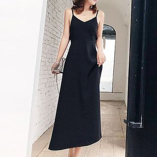 Plain Spaghetti Strap Midi Dress from Fashion Street