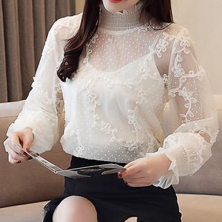 Set: Bell-Sleeve Lace Top + Camisole from Fashion Street