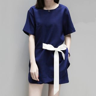 Set: Short-Sleeve Tie-Waist Top + Shorts from Fashion Street