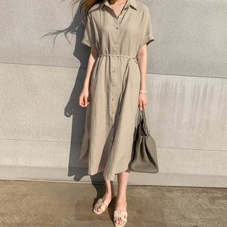 Short-Sleeve Midi Shirtdress from Fashion Street