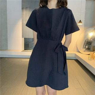 Short-Sleeve Mini A-Line Dress from Fashion Street