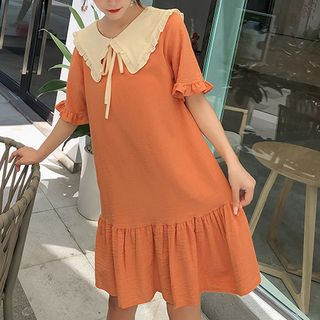 Short-Sleeve Mini Babydoll Dress from Fashion Street