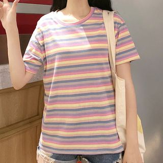 Short-Sleeve Striped T-Shirt from Fashion Street