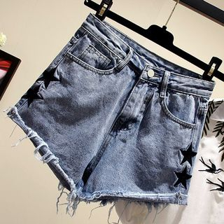 Star Embroidered Denim Shorts from Fashion Street