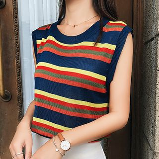 Striped Knitted Tank Top from Fashion Street