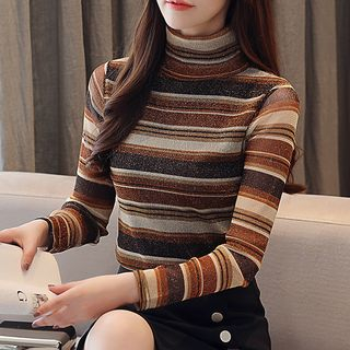 Striped Turtleneck Long-Sleeve Top from Fashion Street