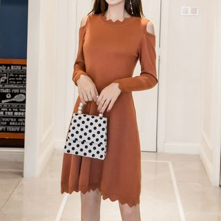 Wave Edge Cold-Shoulder A-Line Knit Dress from Fashion Street