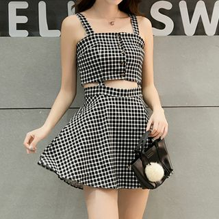 Wide-Strap Plaid Cut Out A-Line Dress from Fashion Street
