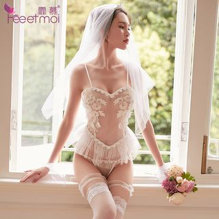 Bride Lingerie Costume Set White - One Size from Femmu