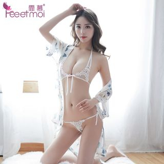 Lingerie Set: Lace Bra + Thongs from Femmu