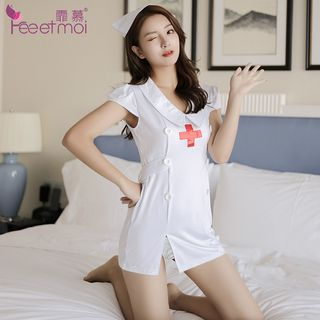 Nurse Lingerie Set: Dress + Thong + Hat White - One Size from Femmu