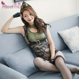 Policewoman Lingerie Set: Bodysuit + Collar + Gloves + Hat Camouflage - One Size from Femmu