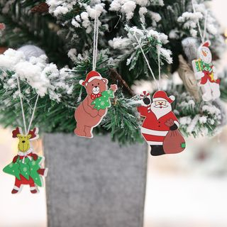 Christmas Cartoon Wooden Hanging Ornament Set of 4 - Red & White & Brown & Green - One Size from Fiesta