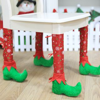 Christmas Elf Furniture Leg Cover Red & Green - One Size from Fiesta