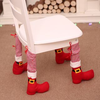 Christmas Fabric Furniture Leg Cover Leg Cover - Red - One Size from Fiesta