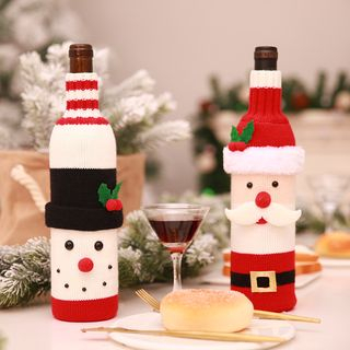 Christmas Santa / Snowman Wine Bottle Cover from Fiesta