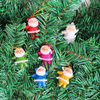 Christmas Santa Hanging Ornament Set of 6 - Multicolor - One Size from Fiesta