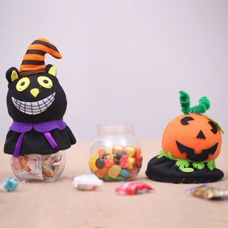 Halloween Pumpkin / Cat Candy Container from Fiesta