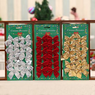 Set of 12: Fabric Christmas Bow Decoration from Fiesta
