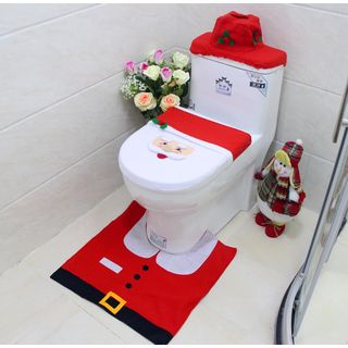 Set: Christmas Toilet Seat Cover + Mat + Toilet Tank Cover + Tissue Box from Fiesta