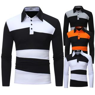 Color Block Long-Sleeve Polo Shirt from Fireon