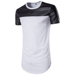 Contrast Panel Short-Sleeve T-Shirt from Fireon
