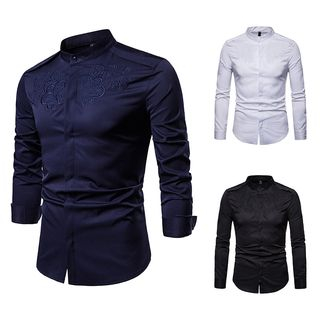 Embroidered Long-Sleeve Stand-collar Shirt from Fireon