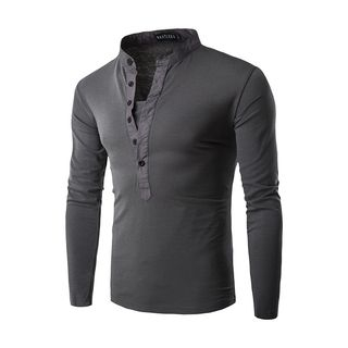Stand Collar Long-Sleeve Henley from Fireon