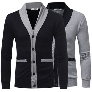 V-Neck Contrast Trim Cardigan from Fireon