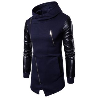 Zip Detail Faux-Leather Panel Hoodie from Fireon