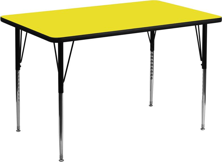 24''W x 48''L Rectangular Activity Table with 1.25'' Thick High Pressure Yellow Laminate Top and Standard Height Adjustable Legs XU-A2448-REC-YEL-H-A from Flash Furniture