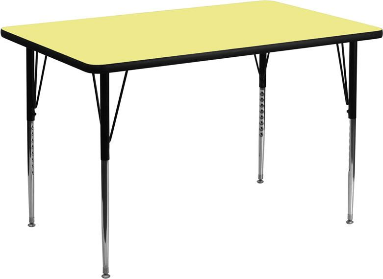 30''W x 72''L Rectangular Activity Table with Yellow Thermal Fused Laminate Top and Standard Height Adjustable Legs XU-A3072-REC-YEL-T-A-GG by Flash F from Flash Furniture