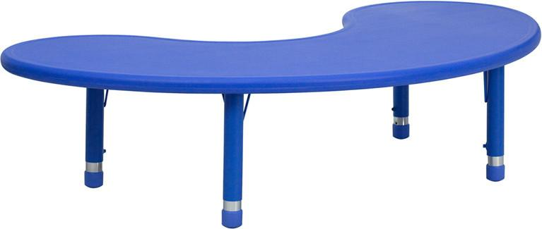 35''W x 65''L Height Adjustable Half-Moon Blue Plastic Activity Table YU-YCX-004-2-MOON-TBL-BLUE-GG by Flash Furniture from Flash Furniture