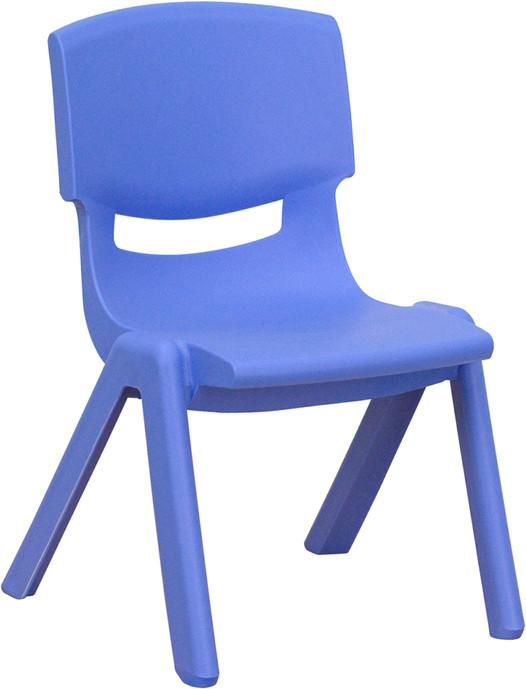 Blue Plastic Stackable School Chair with 10.5'' Seat Height YU-YCX-003-BLUE-GG by Flash Furniture from Flash Furniture
