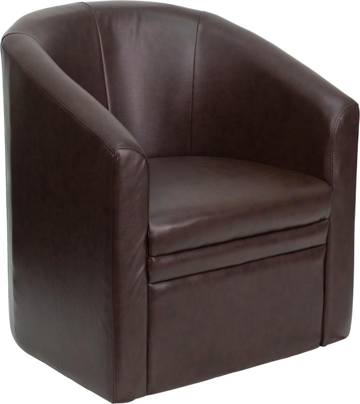 Brown Leather Barrel-Shaped Guest Chair GO-S-03-BN-FULL-GG by Flash Furniture from Flash Furniture