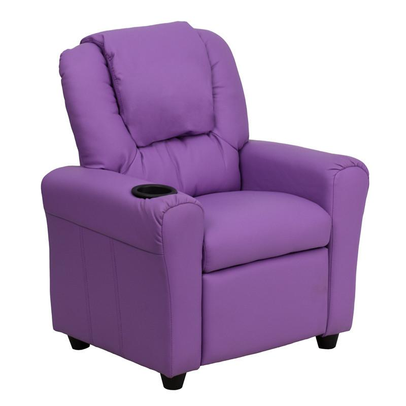 Contemporary Lavender Vinyl Kids Recliner with Cup Holder and Headrest DG-ULT-KID-LAV-GG by Flash Furniture from Flash Furniture