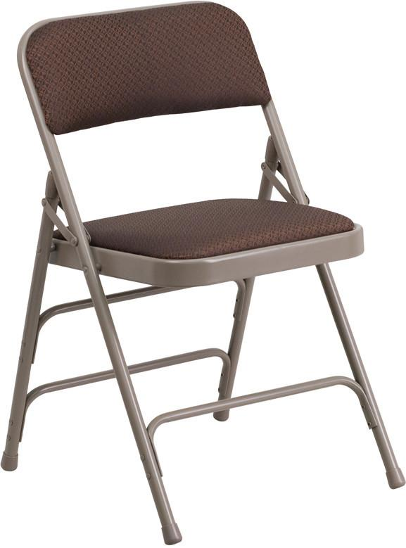 Flash Furniture AW-MC309AF-BRN-GG HERCULES Series Curved Triple Braced & Quad Hinged Brown Patterned Fabric Upholstered Metal Folding Chair from Flash Furniture