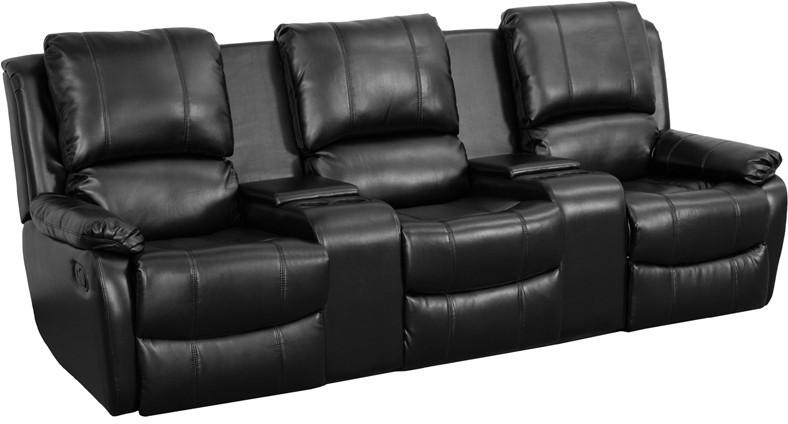 Flash Furniture BT-70295-3-BK-GG Black Leather Pillowtop 3-Seat Home Theater Recliner with Storage Consoles from Flash Furniture