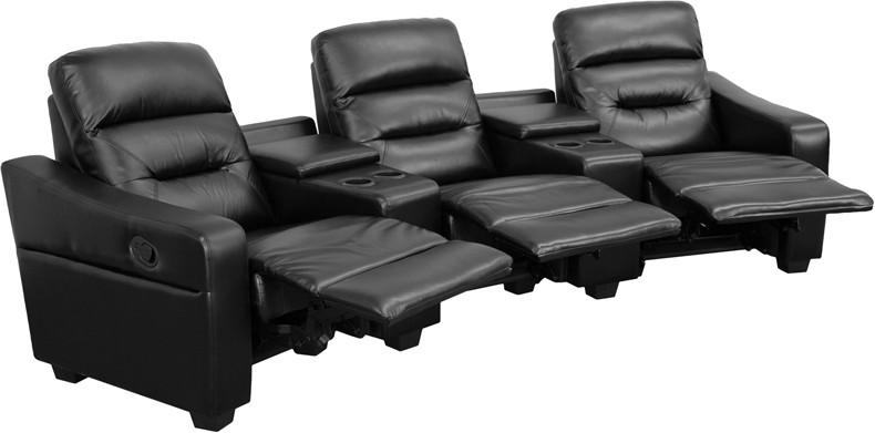Flash Furniture BT-70380-3-BK-GG Futura Series 3-Seat Reclining Black Leather Theater Seating Unit with Cup Holders from Flash Furniture